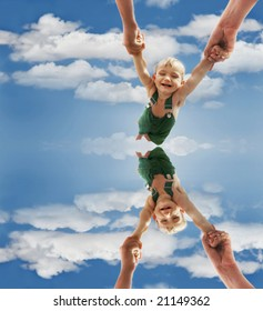 flying baby over sky background