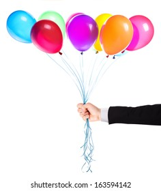 flying balloons with Businessman hand isolated on a white background