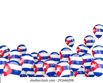 Flying balloons with flag of cuba isolated on white