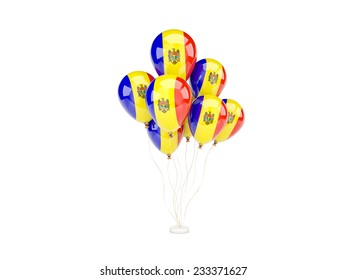 Flying balloons with flag of moldova isolated on white