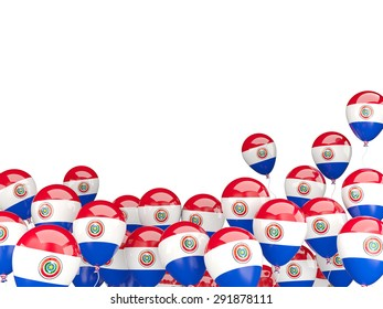Flying balloons with flag of paraguay isolated on white
