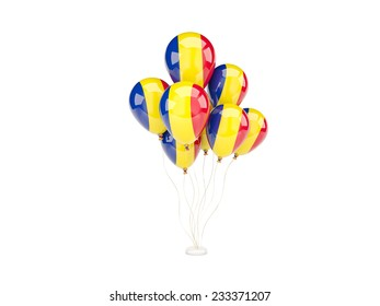 Flying balloons with flag of romania isolated on white