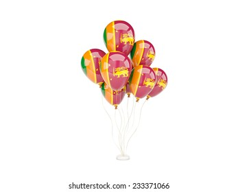 Flying balloons with flag of sri lanka isolated on white