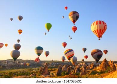 Flying Balloons over Goreme, Turkey