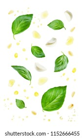 Flying Basil leaves with Parmesan cheese, pine nuts, garlic and oil spray isolated