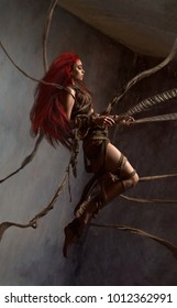 Flying beautiful red haired woman bounding by ropes on dark background