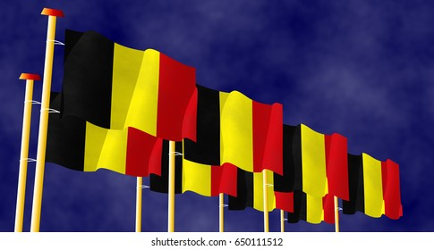 Flying Belgian flags on the flagpoles