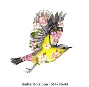 Flying bird in flowers. Watercolor