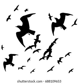Flying birds silhouette background design.