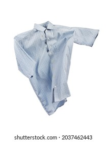Flying blue checked suit shirt with short sleeves on white background