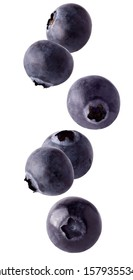 Flying blueberry. Floating blueberries fruits isolated on white background with clipping path as package design element and advertising. Full depth of field.