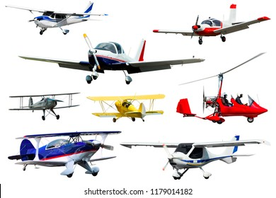 Flying boats, sailplanes, light planes on white background