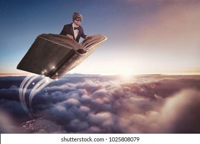 Flying a book over the clouds