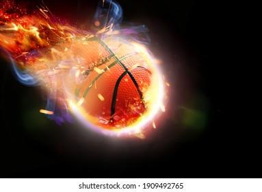 Flying burning ball for playing basketball on dark background
