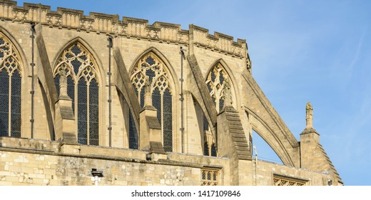 Flying Buttress of Norwich Cathedral, horizontal photography winter 2019