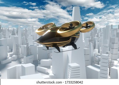 Flying car on a city background, urban electric transport drone. Car with propellers, clean air, fast ride. Mixed media, copy space