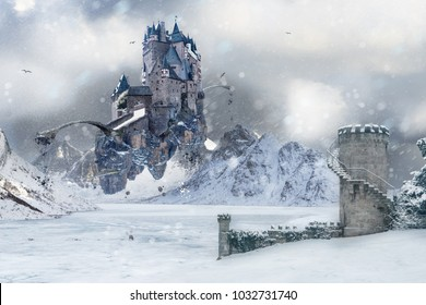 A flying Castle in the mystical mountainous landscape of Icy Wasteland with an old Tower