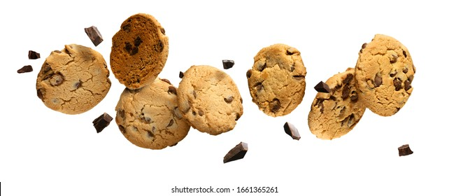 Flying Chocolate chip cookies with pieces of chocolate isolated on white background. High resolution image. - Shutterstock ID 1661365261