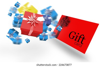 Flying christmas presents against gift card with festive bow