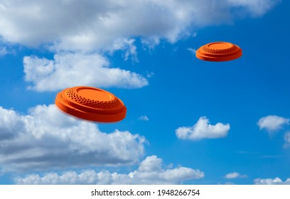 Flying clay disc target shooting on the blue sky , Clay pigeon targets game