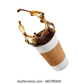 Flying coffee from a paper cup
