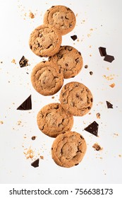 Flying cookies. Chocolate chips falling in motion