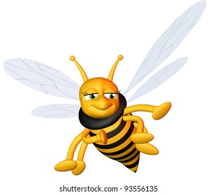 Flying cute bee