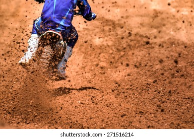 Flying debris from a motocross in dirt track