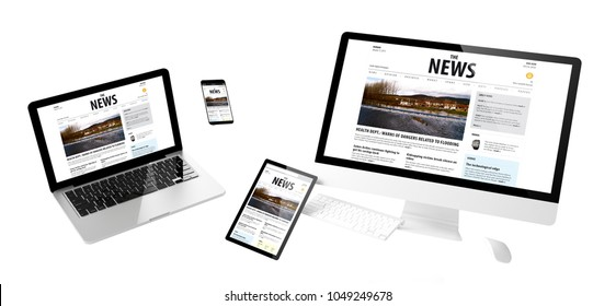 flying devices with news website responsive design 3d rendering