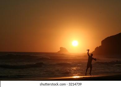 Flying Disc. Sunset