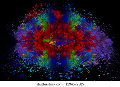 flying disk colorful powder explosion
