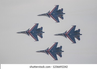 Flying display and aerobatic show of the Russian Knights display team flying Sukhoi SU-30s in Bahrain International Airshow at Sakhir Airbase, Bahrain on 16th Nov 2018