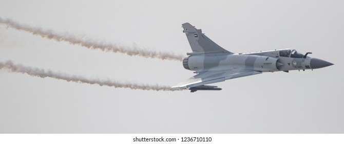 Flying display and aerobatic show of the UAE Air Force Mirage 2000 in Bahrain International Airshow at Sakhir Airbase, Bahrain on 16th Nov 2018