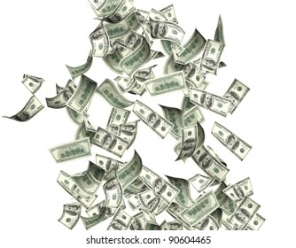 Flying dollar banknotes. Isolated over white