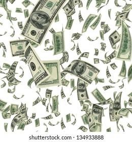 Flying dollar bills on white background