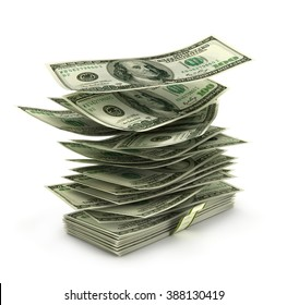 flying dollar bills in stack, the concept of success