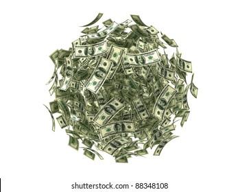 Flying dollars banknotes