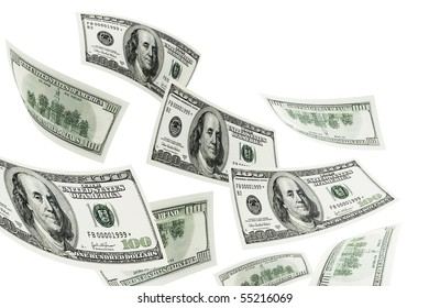 Flying dollars on a white background