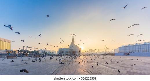 Flying doves over FANAR, Qatar Islamic Cultural Center in Doha