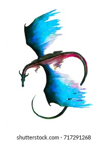 Flying dragon top view. Dragon hand painted illustration in mystic blue and red colors isolated on white
