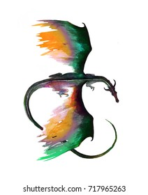 Flying dragon top view. Dragon hand painted illustration in mystic green black and orange colors isolated on white