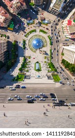 Flying drone above the square in the city center. Top view of the Independence Maidan. Photo in the style of the film Inception. Ukraine Kiev Independence Maidan