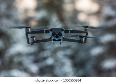 Flying drone in air