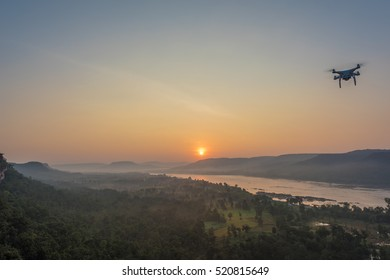 Flying drone to Capture the sunrise scene at Pha Tam, Ubon Ratchathani, Thailand