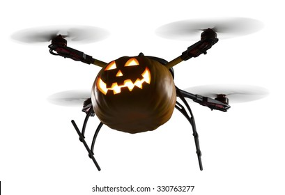 A flying drone decorated as Halloween pumpkin on white background. Clipping path is included.