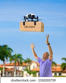 Flying drone delivering box package on delivery flight to a happy waiting man with outstretched arms standing in his front yard on a sunny afternoon.
