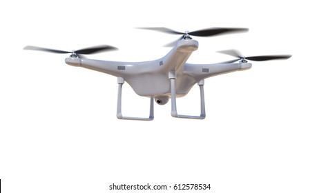 Flying drone isolated on white background. 3D rendered illustration.