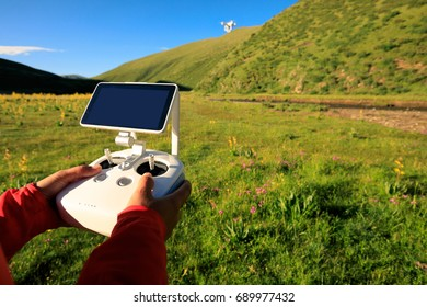 flying drone outdoors