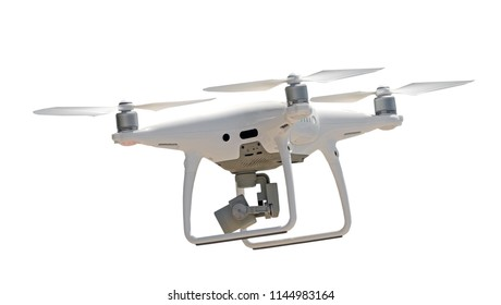 Flying drone quadcopter on  white background