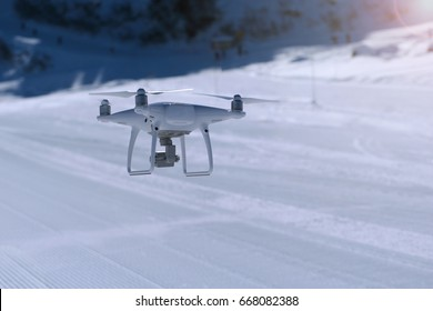 Flying drone in winter Alpine landscape panorama
